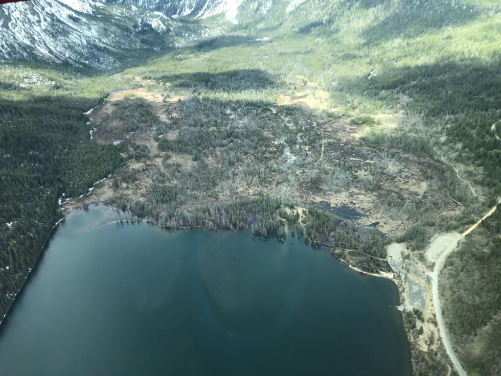 Oblique aerial view of the W shore of Stanley Lake and upstream area. 05/12/2020